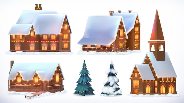 Christmas. cottages, country houses. festive christmas decorations.