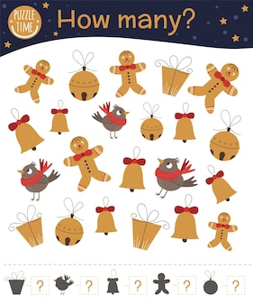 Christmas counting game with gingerbread man, bell, present, bird.