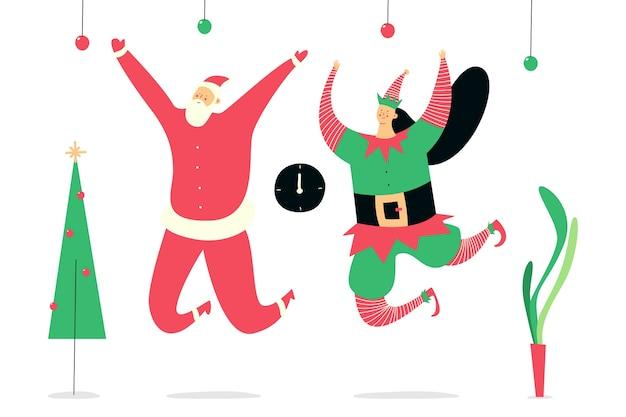 サンタクロースとエルフのクリスマスカップルは白い背景の上のかわいいイラストを衣装します。