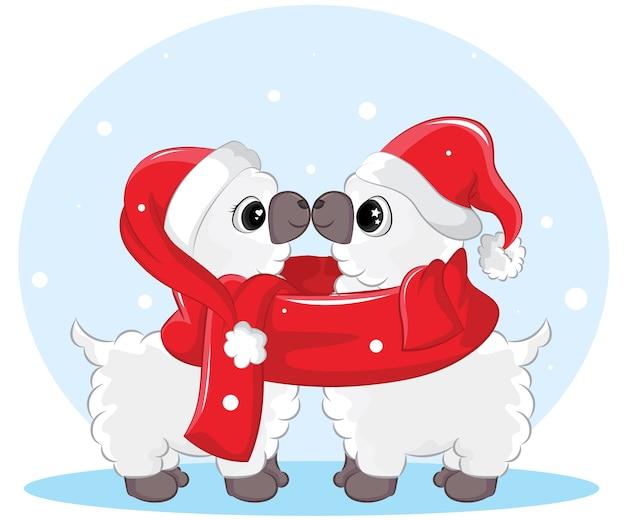 クリスマス。サンタクロースの帽子とニットのスカーフを身に着けているかわいい漫画のラマのカップル。
