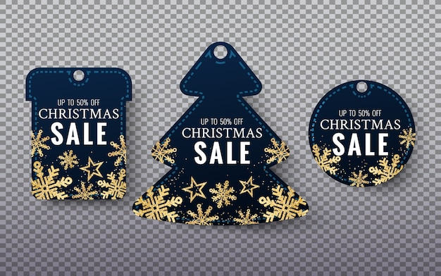 Christmas coupon with glitter gold stars