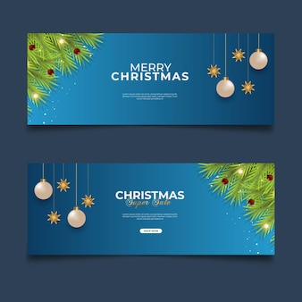 Christmas cover sale post with blue background pine branch  and christmas ball