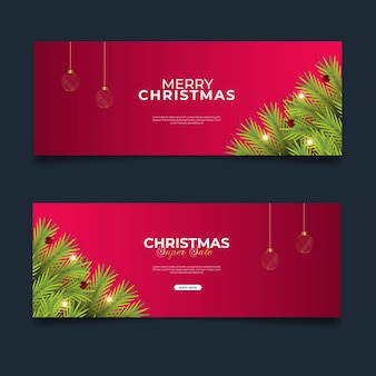 Christmas cover sale post with red background pine branch  and golden christmas ball