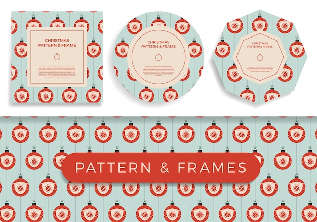 クリスマスcovidシームレスパターンとフレームセットのイラスト