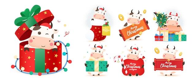 異なる年の牛のデザインのクリスマス牛セット