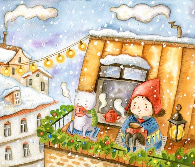 Рождественский уютный фон с девушкой и кошкой