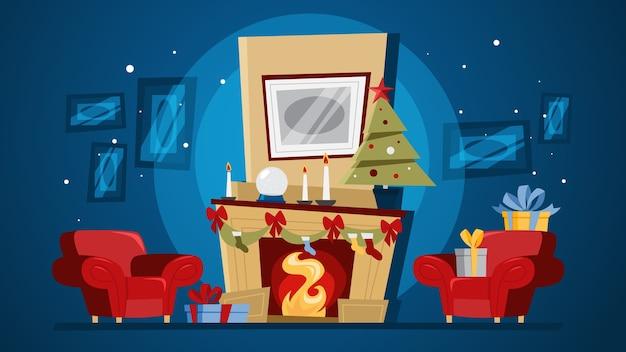 나무와 선물 상자 크리스마스 아늑한 거실 인테리어. 귀여운 장식과 벽난로. 장식 인사말 카드입니다. 아름다운. 삽화
