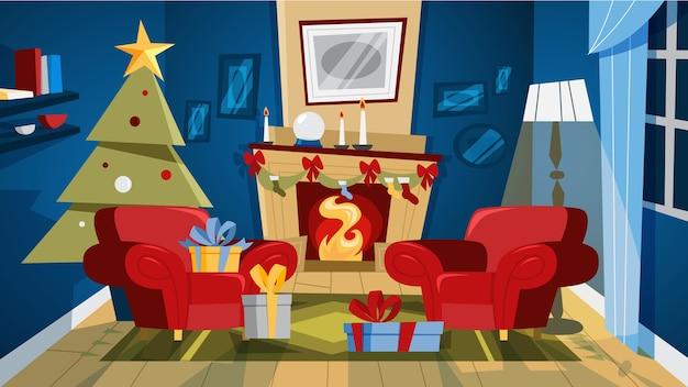 나무와 선물 상자 크리스마스 아늑한 거실 인테리어. 귀여운 장식과 벽난로. 삽화