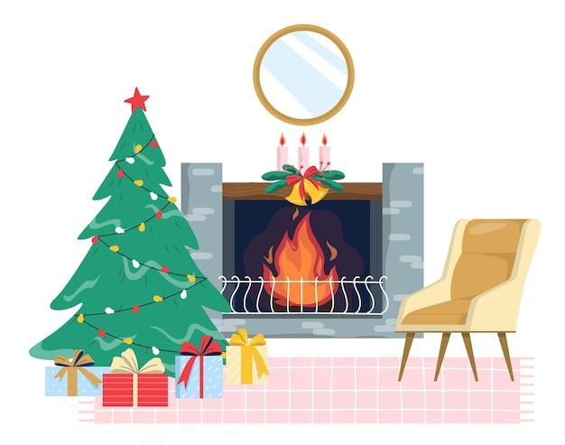 Рождественский уютный интерьер гостиной с деревом и подарочными коробками.