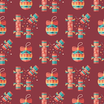 Christmas crackers and decor flat art seamless pattern.