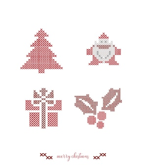 Christmas cross stitch embroidery.