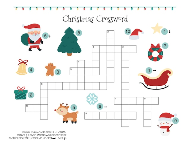 어린이를위한 크리스마스 크로스 워드 퍼즐