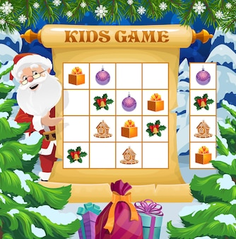 Christmas crossword game, winter holiday rebus for kids with santa and gifts. children activities book page, child logical game. santa, gifts and cookies, christmas tree decorations cartoon vector
