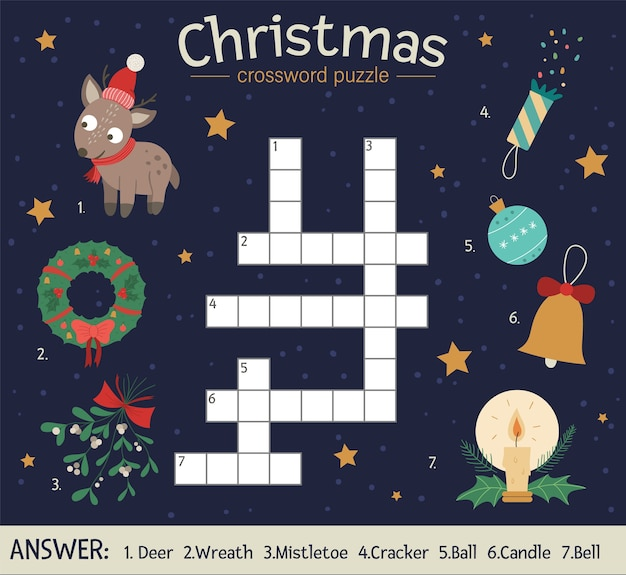 Christmas crossword puzzle. bright and colorful winter quiz for children. educational new year activity with deer, wreath, mistletoe, ball, candle, bell, cracker.
