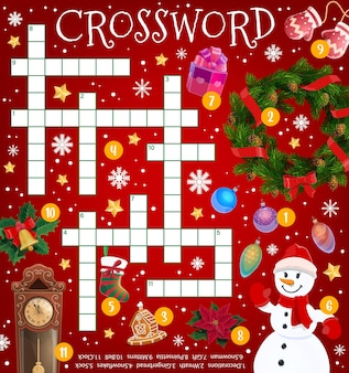 Christmas crossword puzzle game grid, cartoon holiday items and decorations, vector. find word quiz for kids worksheet riddle with santa gifts on christmas tree, winter snow and snowman in mittens