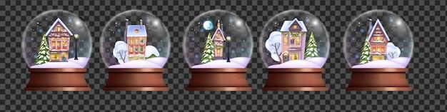 Рождественский хрустальный шар набор вектор рождественский праздник снежный шар комплект зимний реалистичный волшебный пузырь