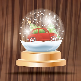 Christmas crystal ball with snow and red car carrying fir tree on wooden background. vector illustration.