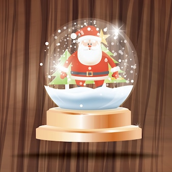 Christmas crystal ball with snow and santa claus in front of fir tree on wooden background. vector illustration.