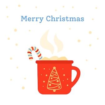크리스마스 컵 평면 뜨거운 음료, 롤리팝 및 마시맬로. 메리 크리스마스 인사 엽서입니다. 격리 된 그림
