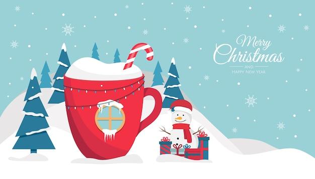 Рождественская чашка с фоном напитка