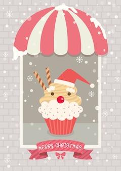 크리스마스 컵 케 잌은 카페 산타 클로스