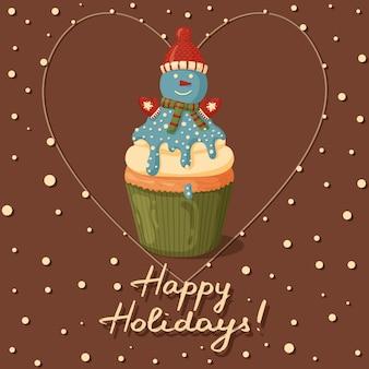 Рождественский кекс с милым снеговиком