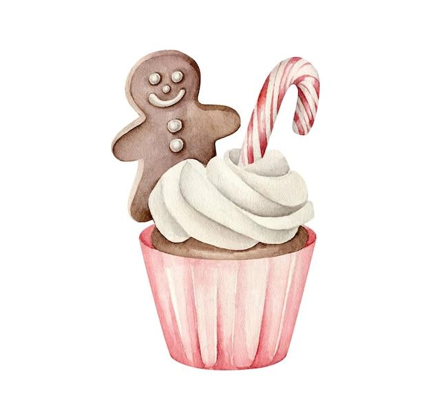 Рождественский кекс с пряничным человечком и леденцом