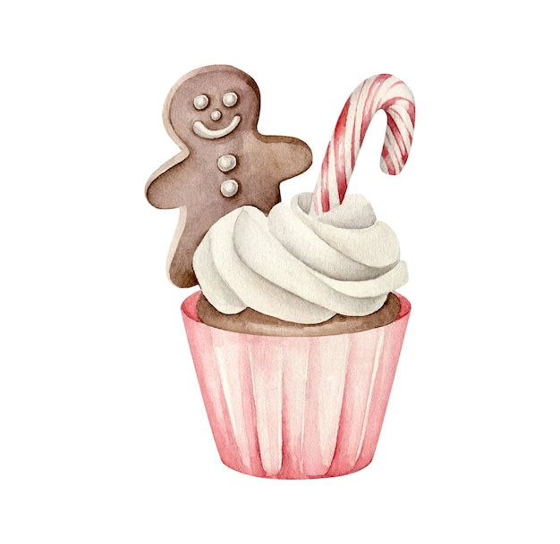 Christmas cupcake with gingerbread man and lollipop