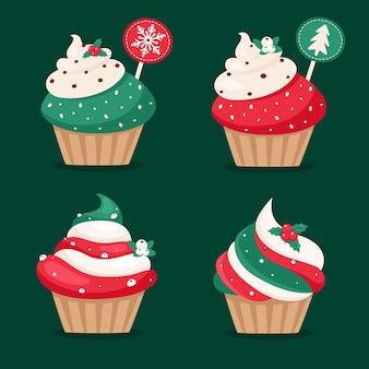 Christmas cupcakes collection. christmas sweets.