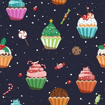 Christmas cupcakes. seamless pattern