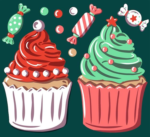 겨울 과자 음식과 사탕 머핀 산타 클로스 모자와 크리스마스 트리와 함께 크리스마스 컵 케이크 세트