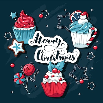 Christmas cupcakes and sweets  set with christmas elements