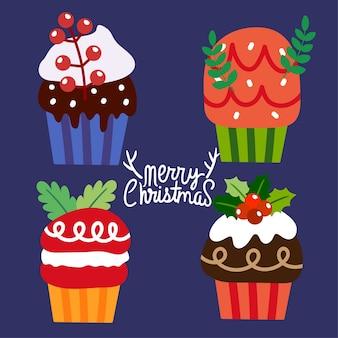 Christmas cupcakes vector.