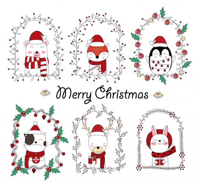 Christmas cute animal cartoon in floral frame