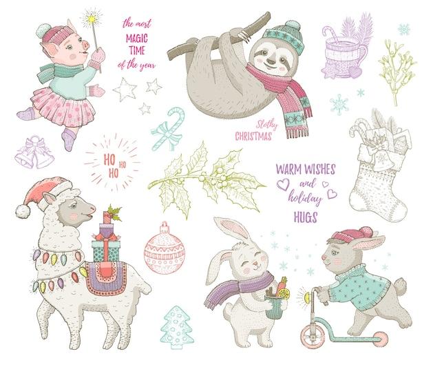 クリスマスかわいい動物ラマナマケモノウサギ豚。手描きのトレンディな落書きセット。メリークリスマス&新年あけましておめでとうございます漫画のスケッチ