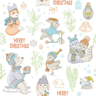 Christmas cute animals seamless pattern. doodle bear rabbit raccoon owl fox mole. hand drawn sketch