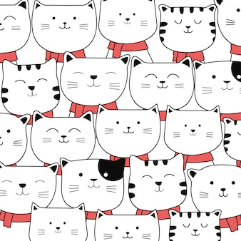 Christmas cute baby cat pattern