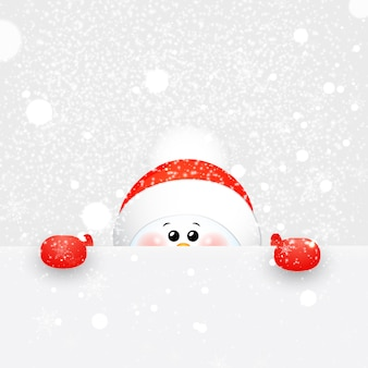 Christmas cute, baby, funny snowman with scarf and red santa claus hat with falling snowflakes and sign .