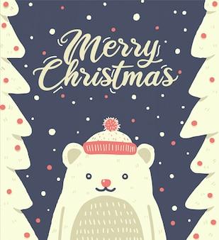 Christmas cute bear wearing santa hat