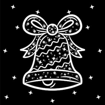 Christmas cute bell sticker sketch with white stroke