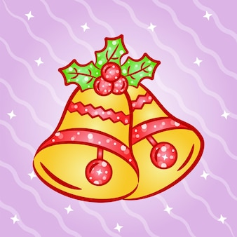 Christmas cute bell sticker with gradient colors