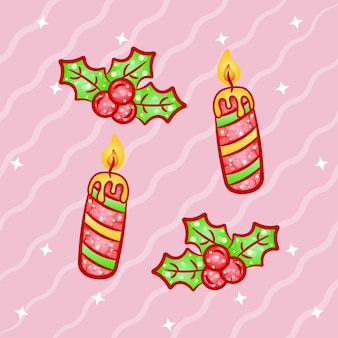 Christmas cute candles and red berries  sticker with gradient colors