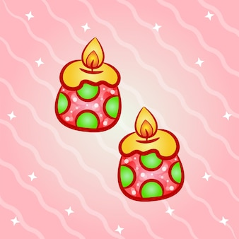 Christmas cute candles sticker with gradient colors