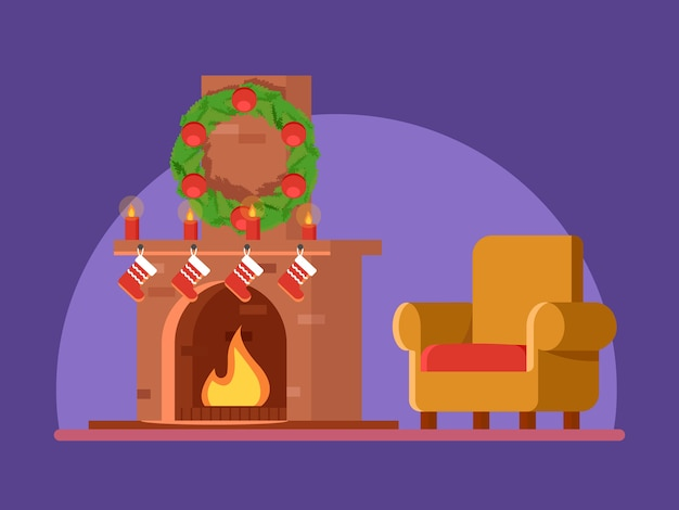 Christmas, cute cartoon burning fireplace, christmas decorations wreath