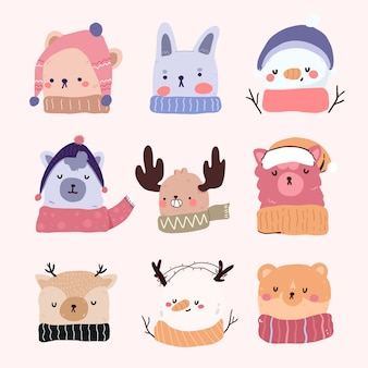 Christmas cute cartoon elements decor set sticker design