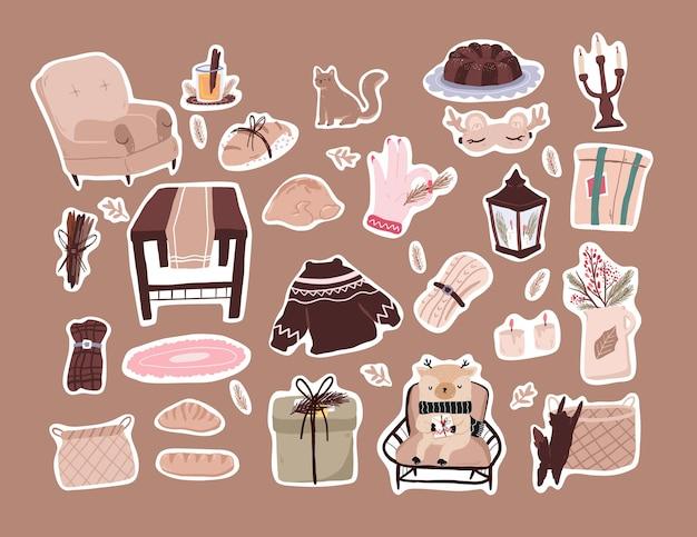 크리스마스 귀여운 만화 요소 장식 세트 스티커 디자인
