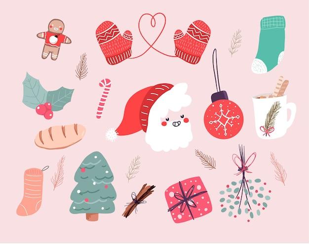 Рождественский милый мультфильм элементы декора набор дизайн наклейки