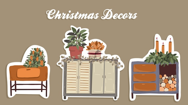 Christmas cute cartoon elements indoor decor set sticker design