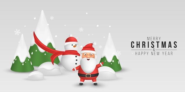 雪片と装飾的なモミの木を背景にクリスマスかわいい漫画のサンタと雪だるま。新年の3d感情的なキャラクター。ホリデーカバー。ベクトルイラスト