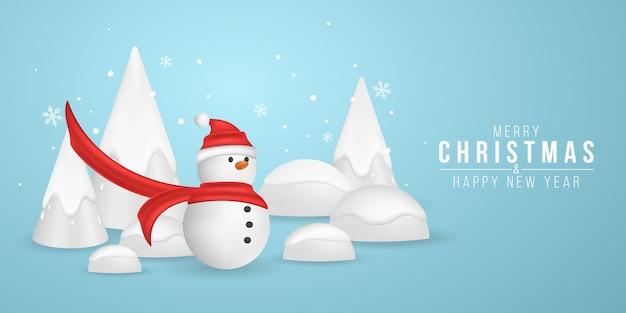 雪片と装飾的なモミの木を背景にクリスマスかわいい漫画雪だるま。新年の3d感情的なキャラクター。ホリデーカバー。ベクトルイラスト